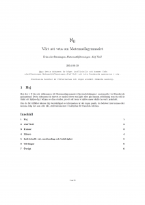 """Första sidan av """"Värt att veta om Matematikgymnasiet""""."""
